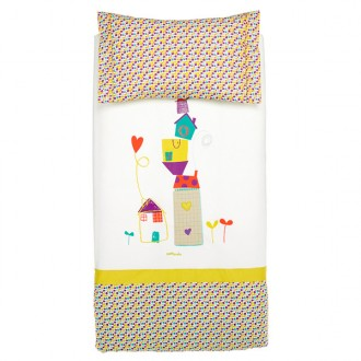 Funda n?rdica para cuna 70x140 Casitas Crudo